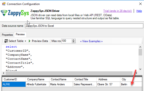 Query json with where clause