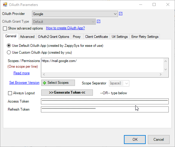 Gmail Oauth configuration