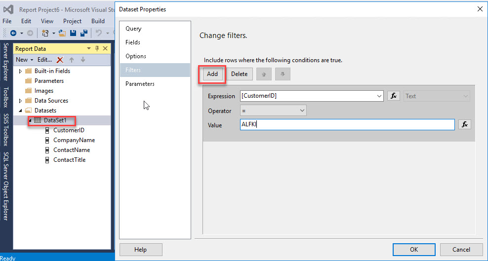 Add filter for the data set