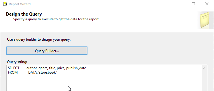 Create query to XML in SSRS