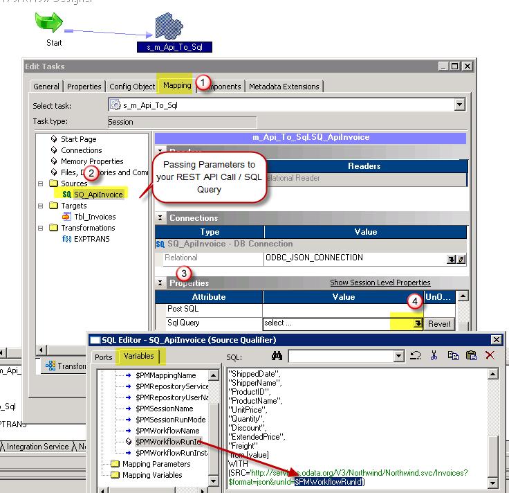 Modify JSON Source SQL query - Pass parameters, change URL, set filter etc