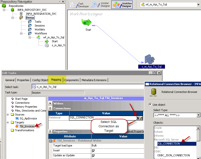 Select SQL Target Connection in Informatica - JSON File / REST API Load to SQL Table