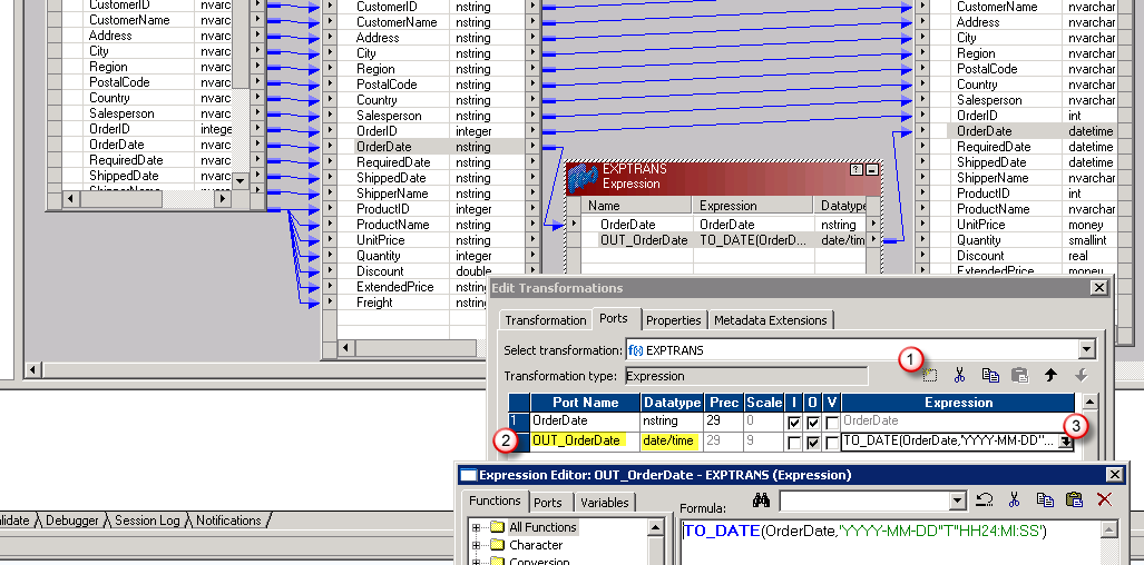 Informatica JSON to SQL Table Mapping - Datatype conversion (nstring to datetime)