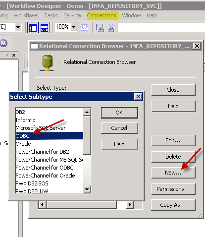 Select ODBC connection type in Informatica (Using ZappySys JSON ODBC DSN)