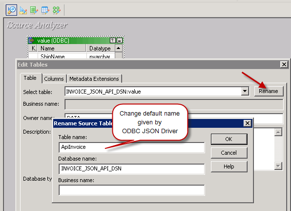Rename imported table definition in Informatica Source Designer