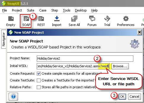 Create new SOAP API Project in SoapUI tool for SOAP API Testing