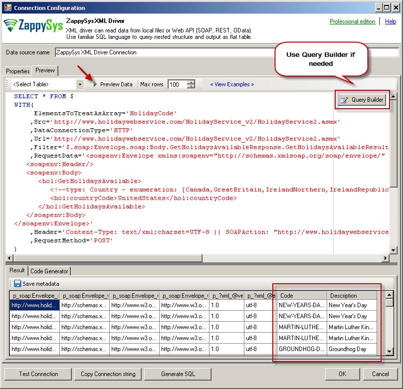 Preview SOAP API Response in ZappySys XML Driver
