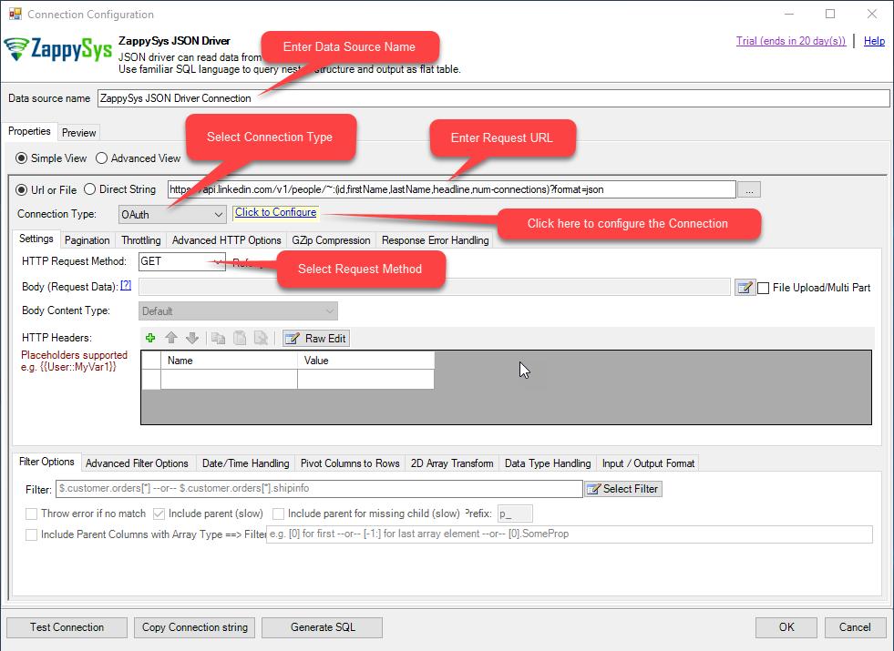 ZappySys ODBC JSON Driver: Configurations settings for LinkedIn API