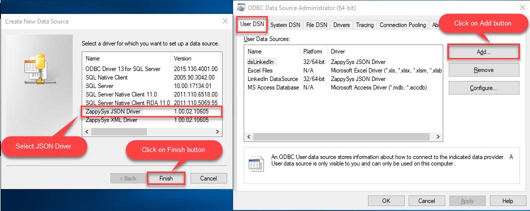 ODBC User DSN Tab: Add new Driver Screen
