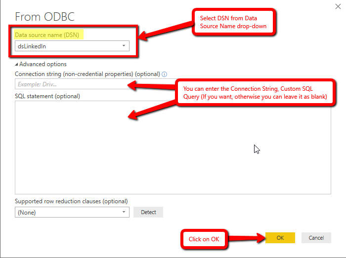 Get data from ODBC Driver