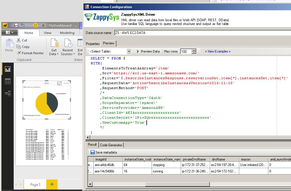 Get EC2 Instance List in Power BI (Use ZappySys XML Driver)