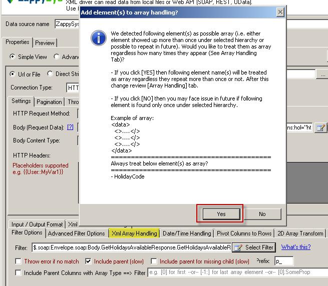 Treat selected node as XML Array Option for SOAP API Response XML