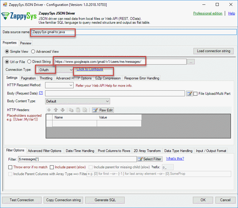 Create ODBC connection to Gmail