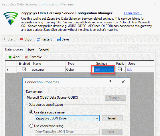 ODBC connection to Default gateway