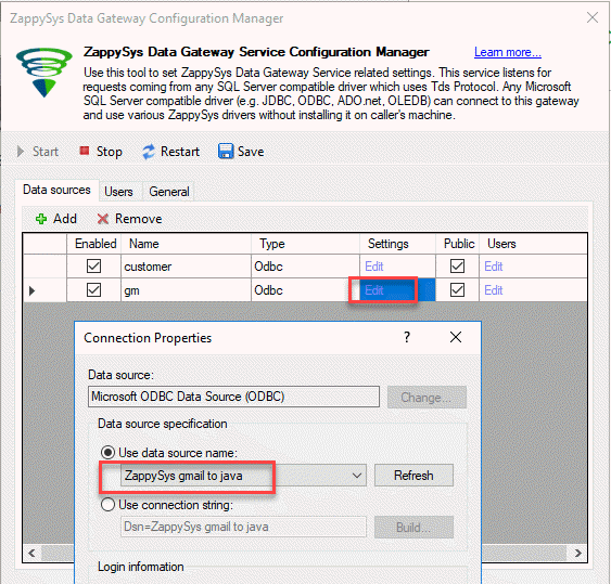 Add ODBC data source to gateway