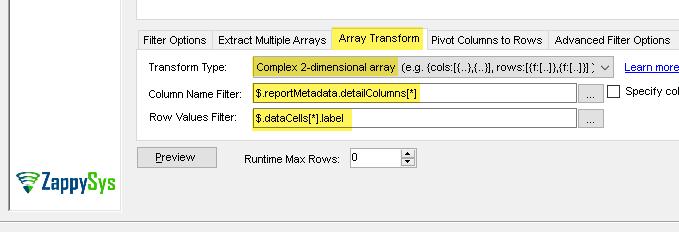 Configure - Advanced Array Transform (Read Salesforce Custom Reports Data in SSIS)