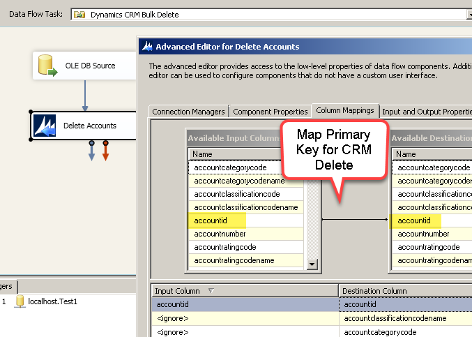 Delete records from Dynamics CRM Online using SSIS (Primary Key mapping for CRM Bulk Delete)