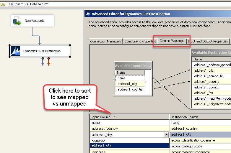 Configure Target Column Mapping for CRM Data Load