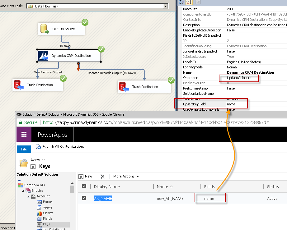 Dynamics CRM Upsert Records using SSIS CRM Destination (Specify Alternate Key / Primary Key)
