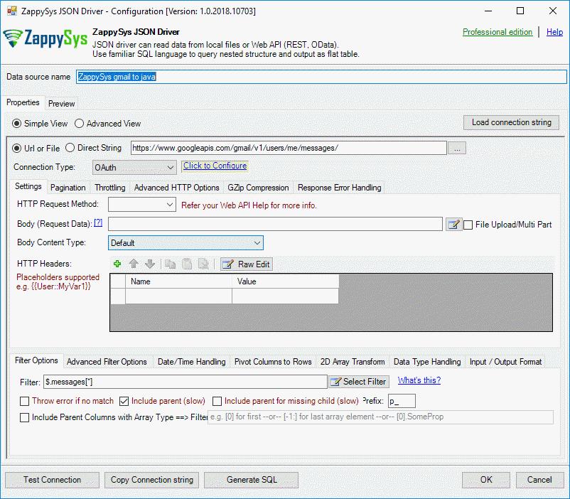 Configure ODBC to REST API