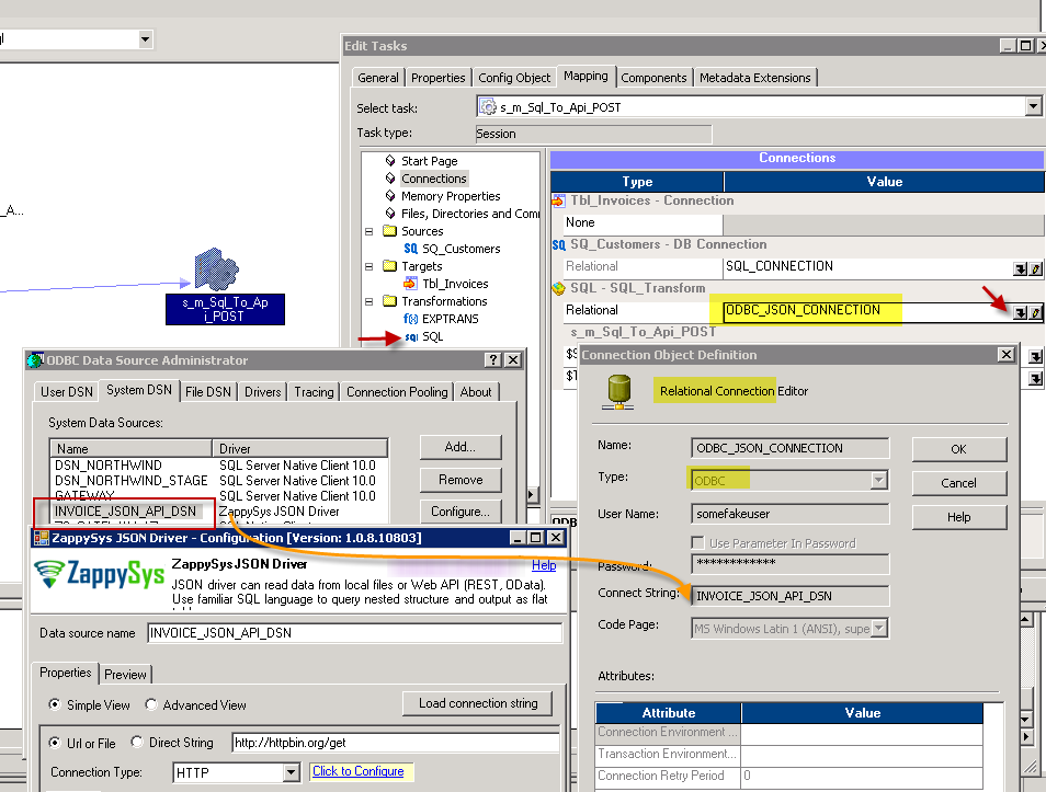 Configure Session Mapping Properties - Set ODBC COnnection Type for SQL Transform to call API requests