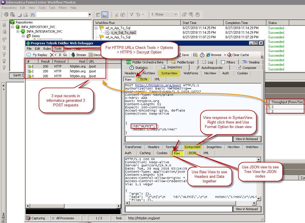 Monitor Session Execution in Informatica - Debug Web API requests using Fiddler