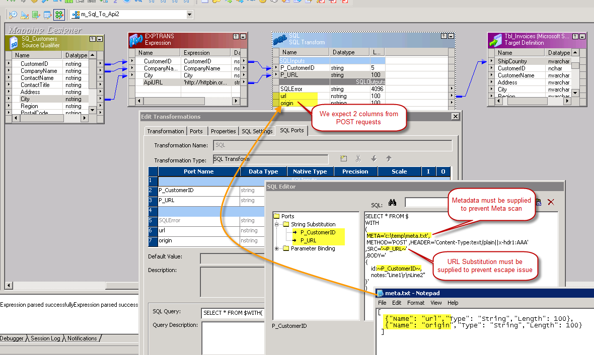 Configure Informatica SQL Transform to call ODBC SQL Queries - JSON /XML API POST Data (Create / Update Records)