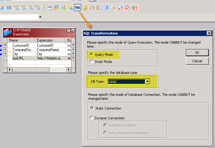 Create new SQL Transform for API Call (POST Data to API using Informatica and ZappySys ODBC Driver)