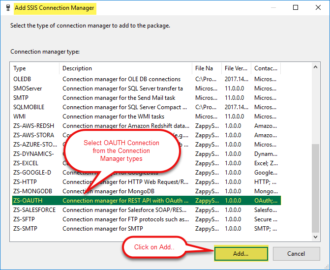 SSIS Connection Maangers List: Select O-AUTH Connection Manager