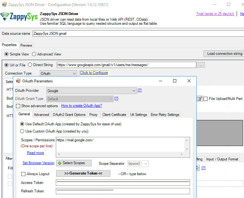 Get Gmail data in MicroStrategy