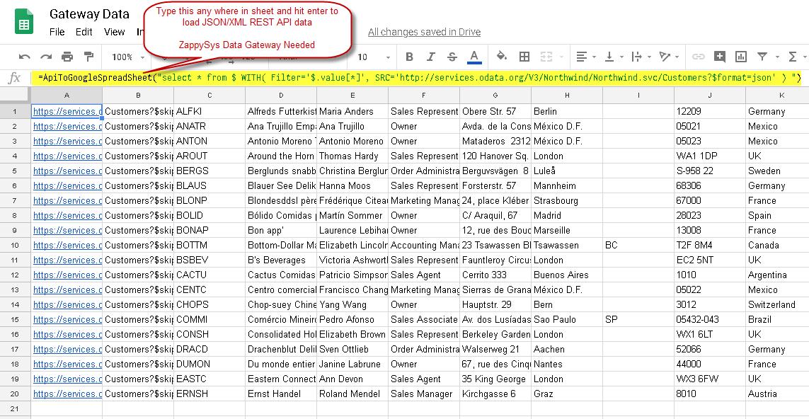 Loading REST API data in Google Sheet. Read JSON / XML using AppScript Function.