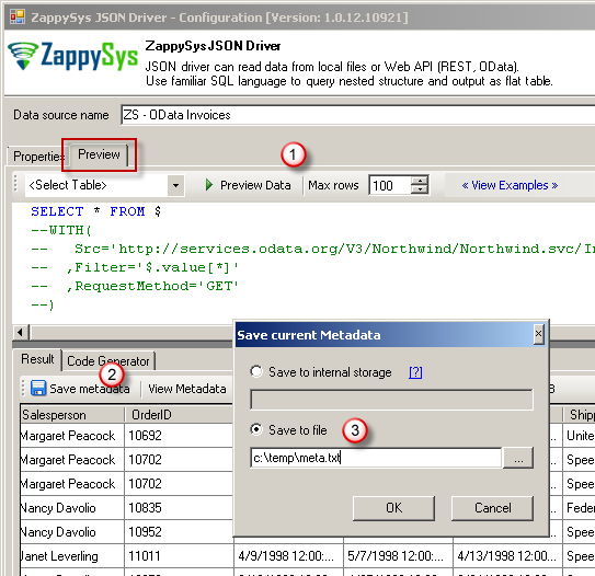 Create Metadata for ODBC Driver Query - ZappySys API Drivers
