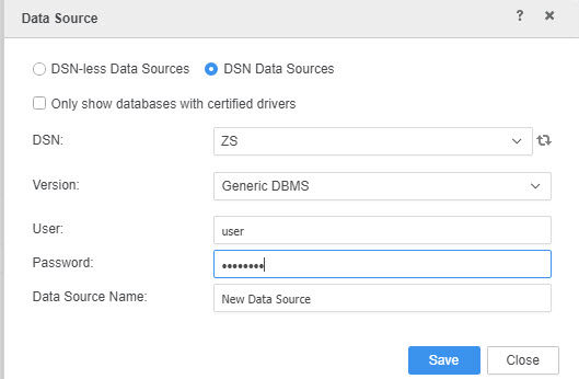 Select DSN and type of connection