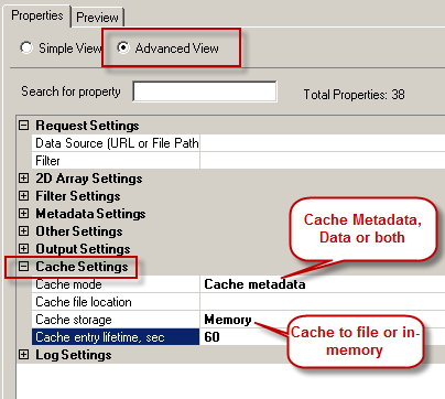 Enable Caching Options for Metadata / Data for ZappySys ODBC Drivers
