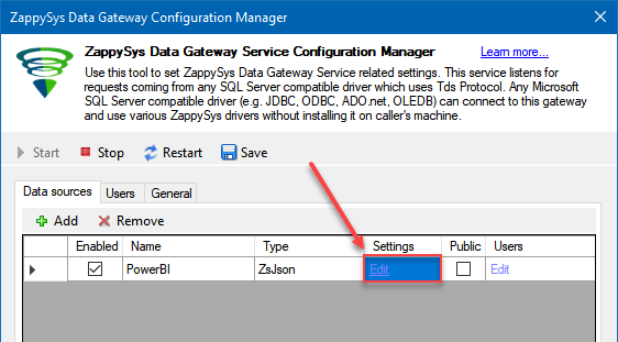Configure Gateway Data Source