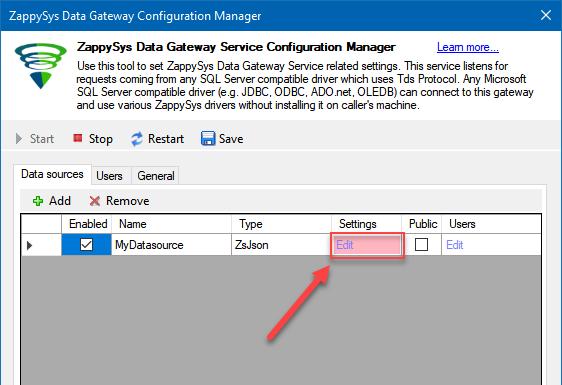 Edit Gateway Data Source Settings