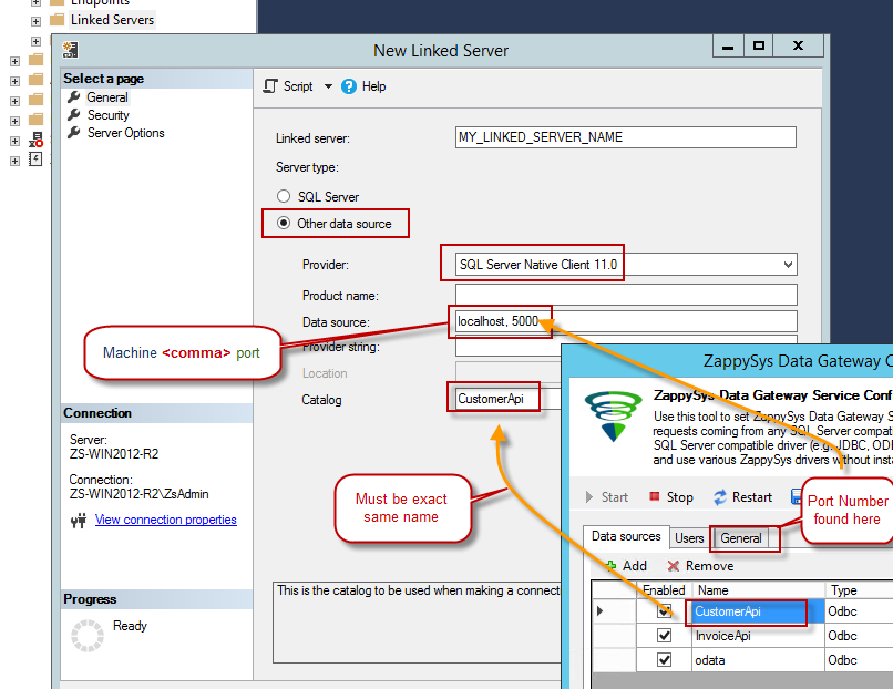 Configure Linked Server Provider, Catalog, Server, Port for ZappySys Data Gateway Connection