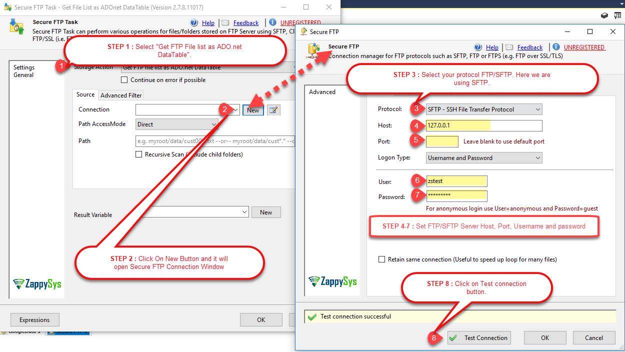 Connect with FTP/SFTP using SSIS