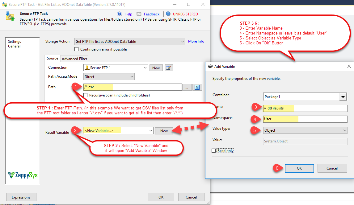 SSIS - Get Latest file list from FTP to ADO.net table in the variable