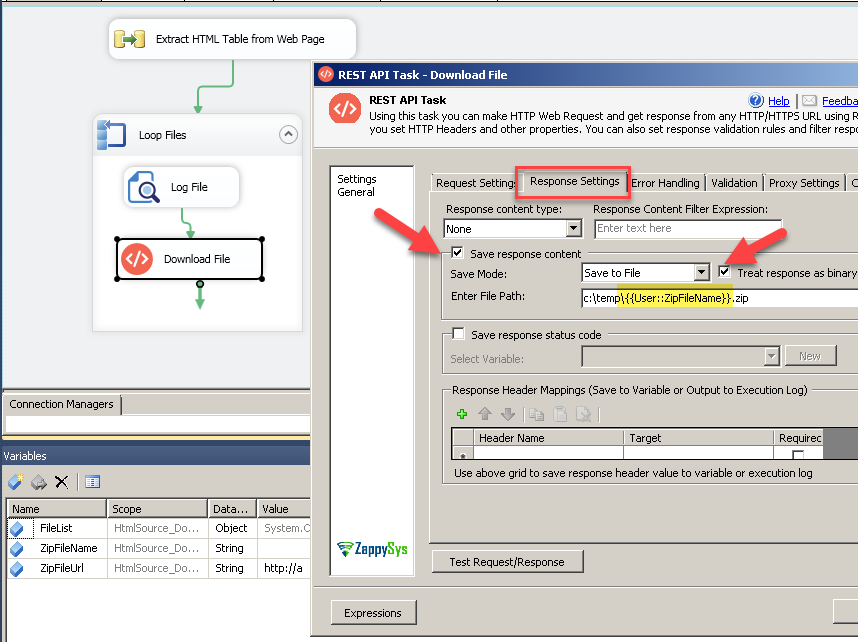 Configure SSIS REST API Task to download Zip File from URL