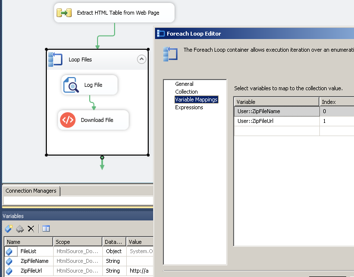SSIS ForEach Loop Task - Variable Mappings