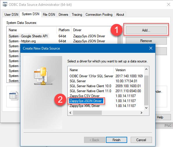 Create System ODBC DSN (64-bit)