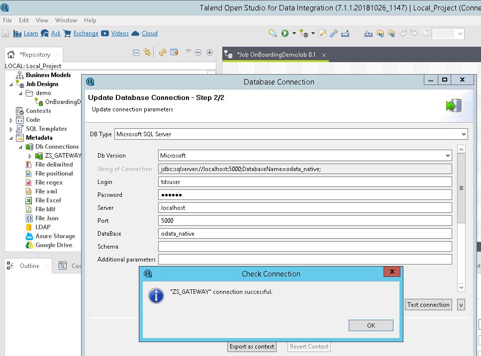 Talend - Connect to JSON / REST API using ZappySys Gateway (Use MS SQL JDBC Driver)