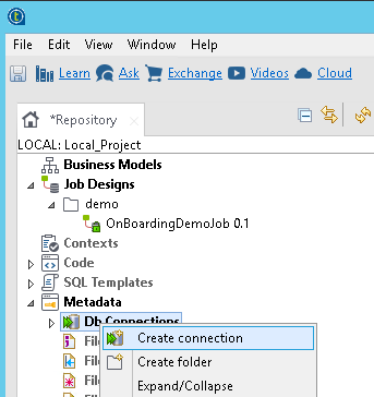 Talend - Create new DB connection (JSON / REST API Example)