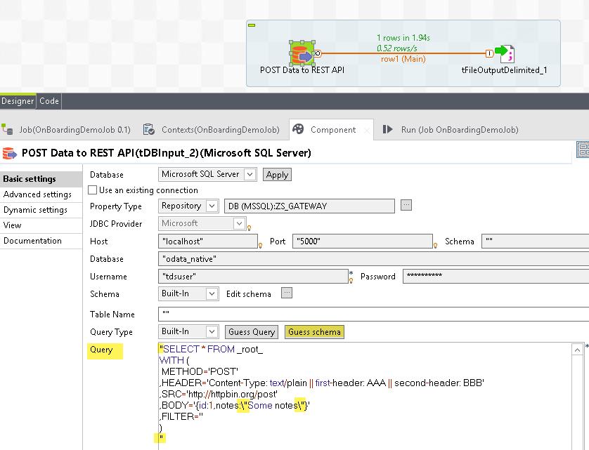 Talend - POST data to REST API URL
