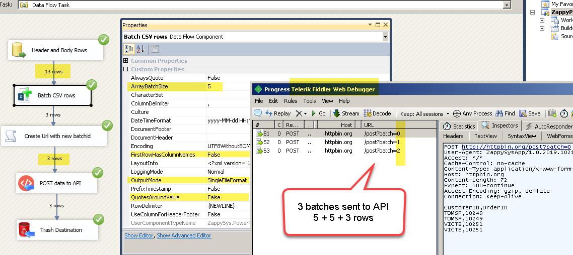 Generate CSV using Batch Setting , Send data to REST API in multiple batches, Debug REST API in Fiddler