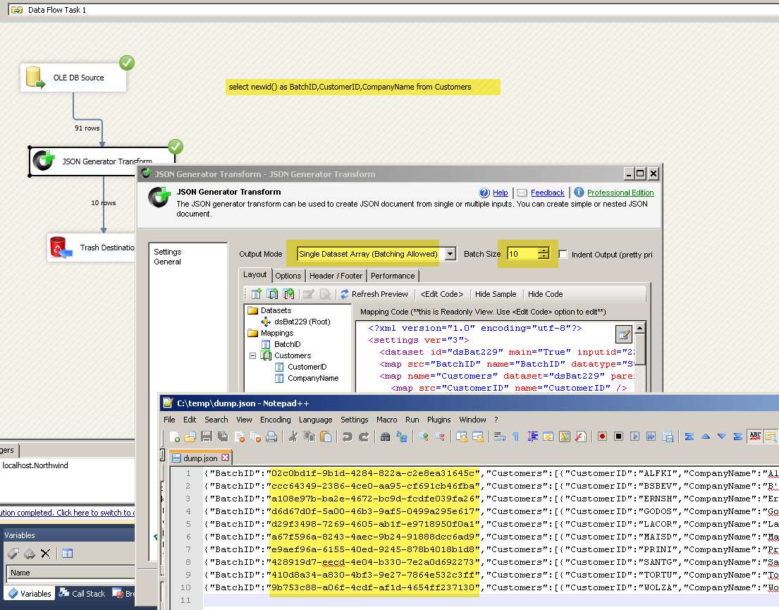 Using SSIS JSON Generator Transform with Batch Option (Multiple Records in a single document)