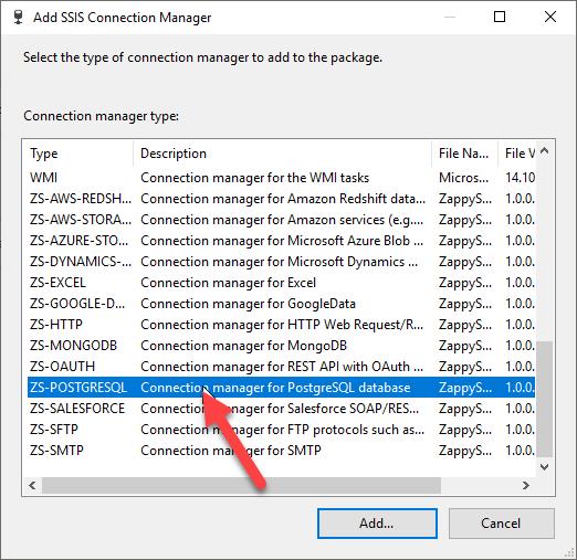 Select ZS-PostgreSQL Connection