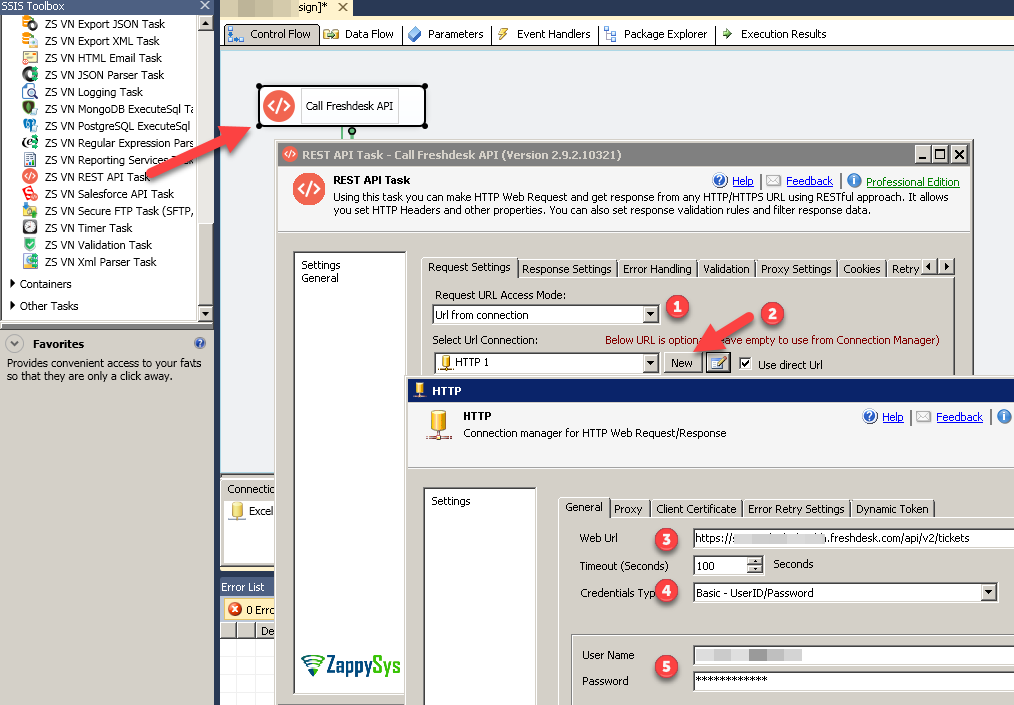 Configure Freshdesk REST API Connection in SSIS - Basic Authentication (User ID / Password)