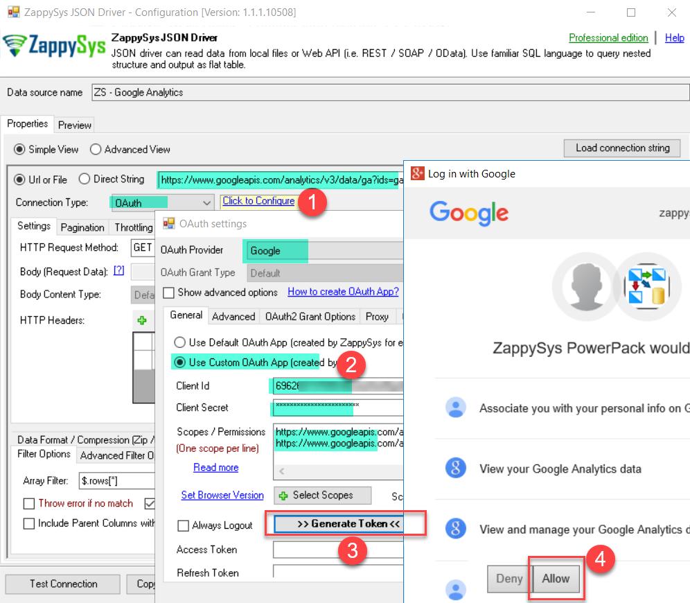 Configure Google API Data Source / DSN (Google Analytics API Example)
